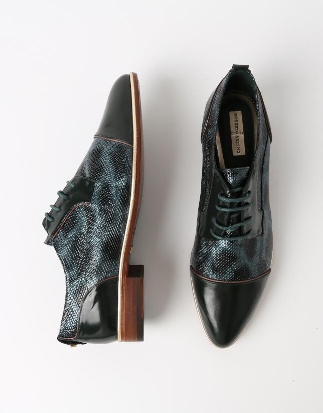 Chaussure Blucher TOKIO en cuir vachette gravé et cuir Antic vert