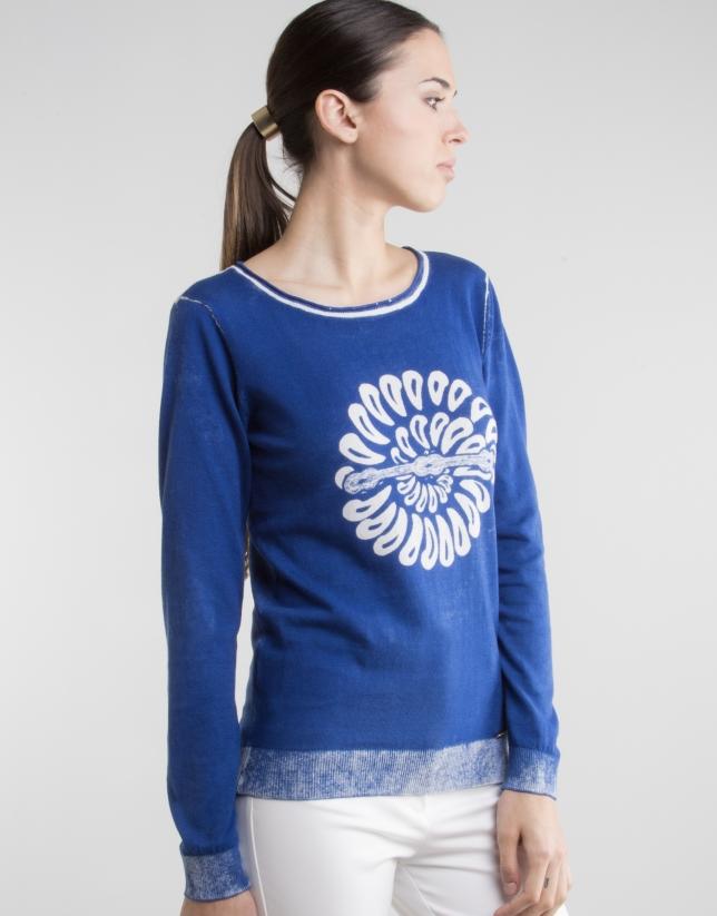 Jersey azul estampado fantasía
