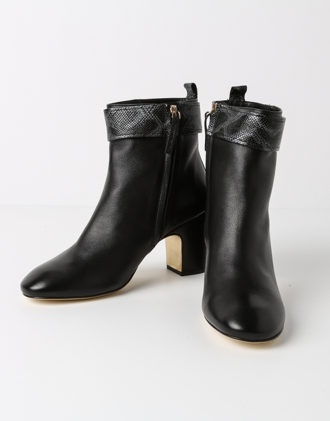 Black lambskin BOMBAI ankle boot