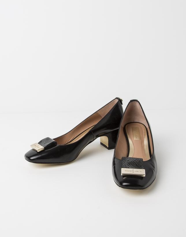 Ballerine MANILA en cuir Antic noir
