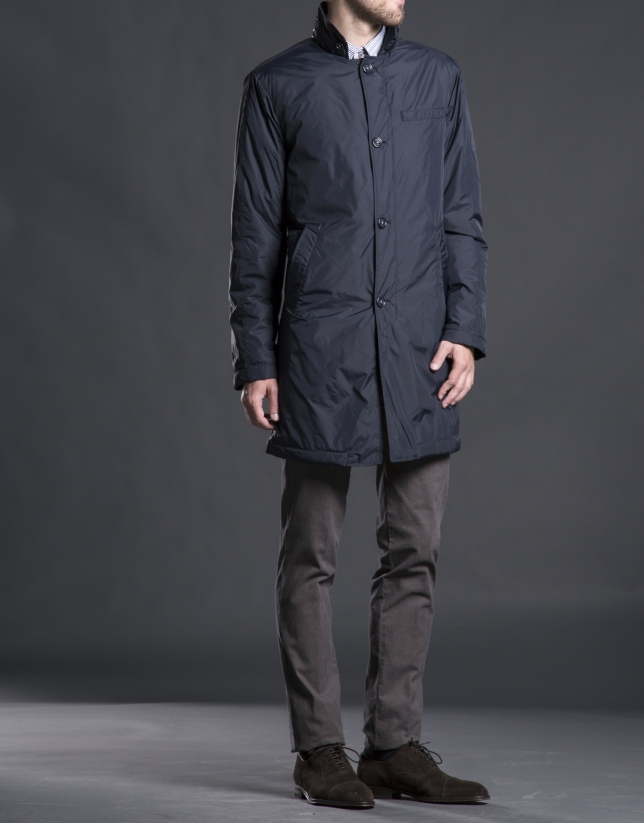 Navy blue buttoned raincoat