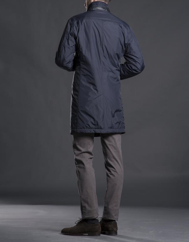 Manteau gabardine bleu marine avec boutons