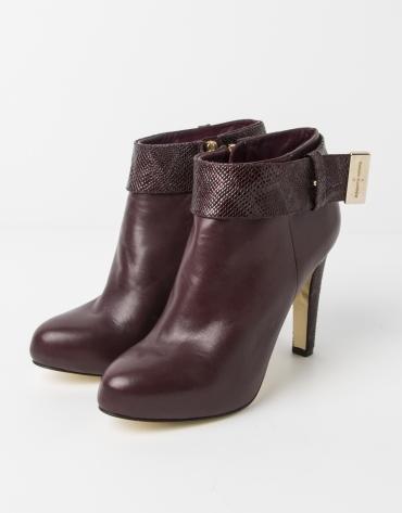 Burgundy lambskin SHANGAI ankle boot