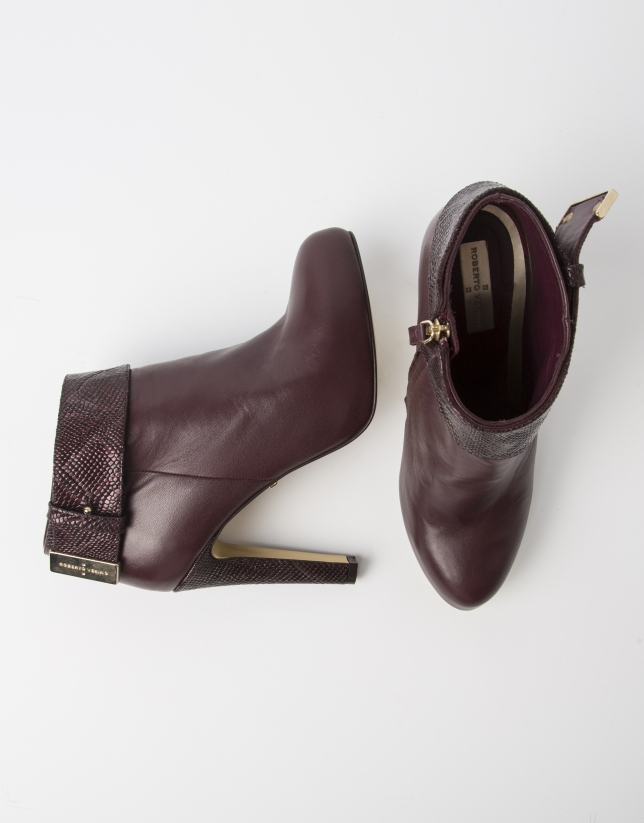 Bottine SHANGAI en cuir ovin couleur bordeaux