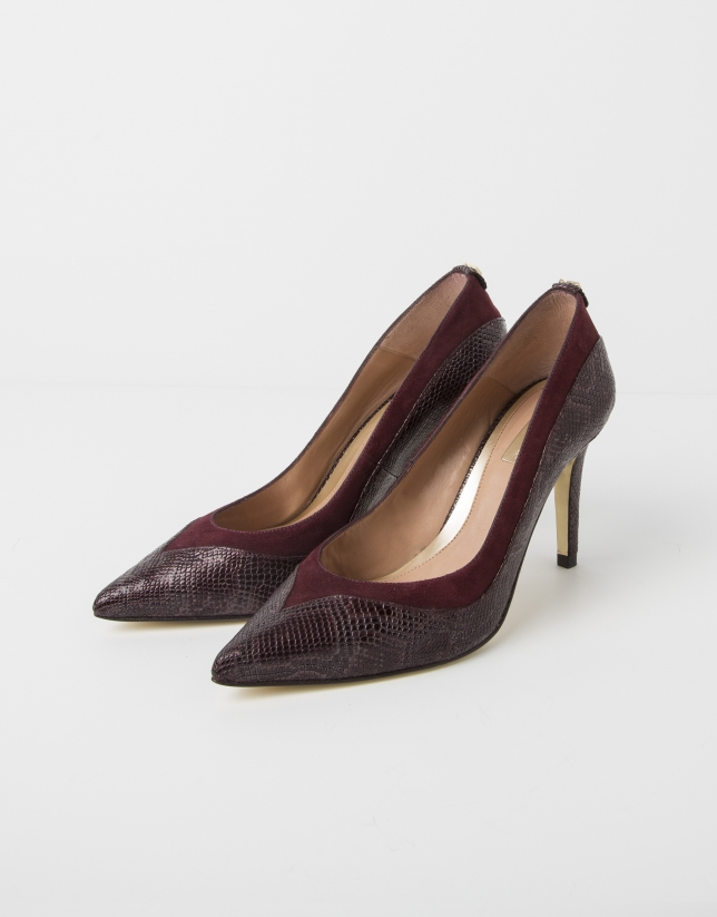 Burgundy embossed cowhide and suede YAKARTA pump