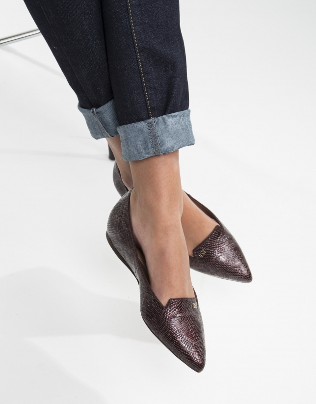 Burgundy embossed cowhide SAO PAULO pump