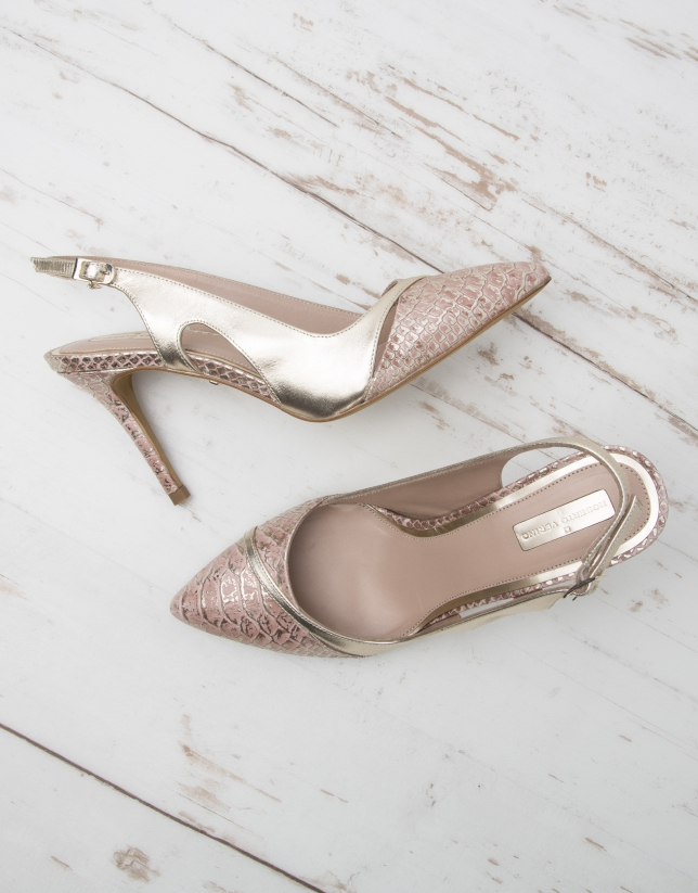 Pink and gold Miami pumps