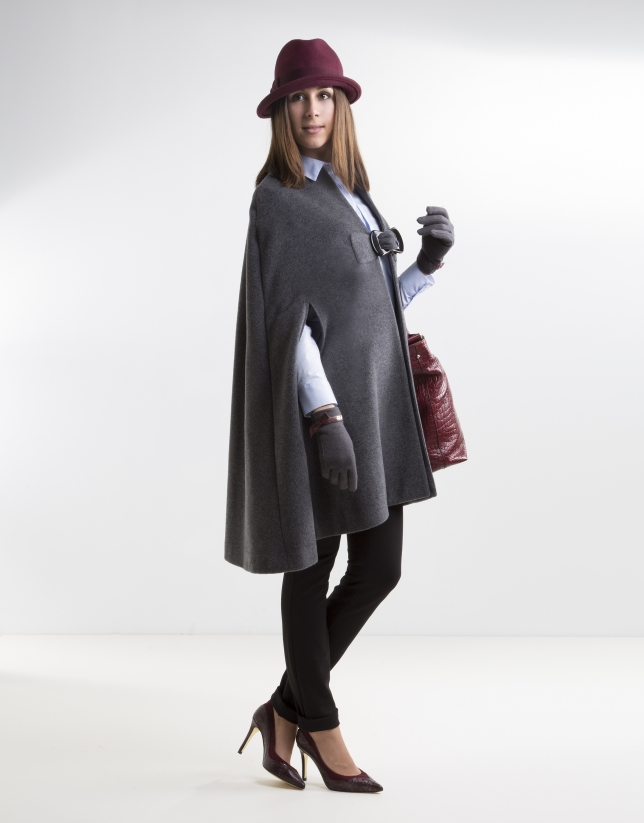 Dark gray cashmere cape