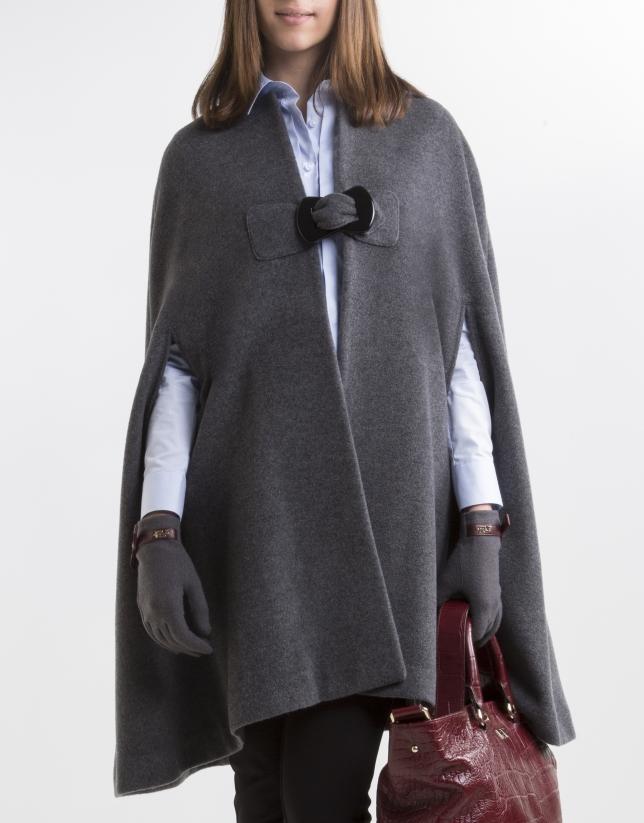 Dark gray cashmere cape