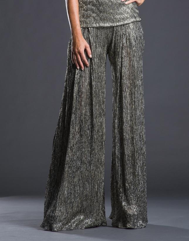 Pantalón plisado lamé plateado
