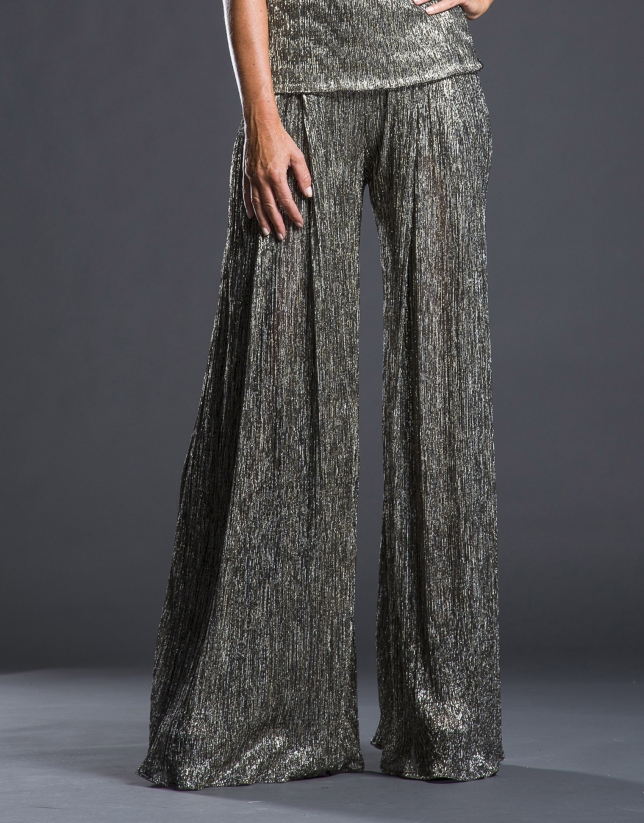 Silver lamé pleated pants