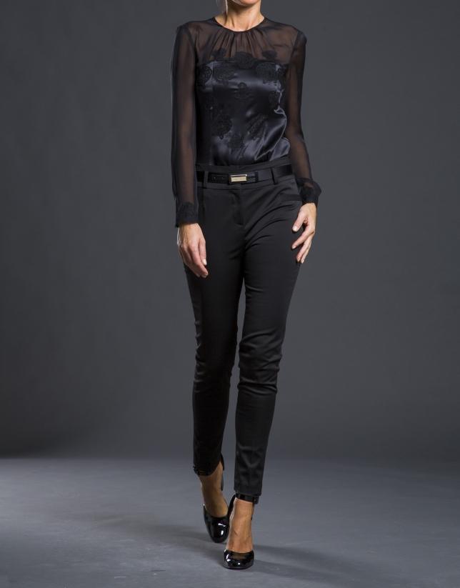 Pantalon extensible satin noir