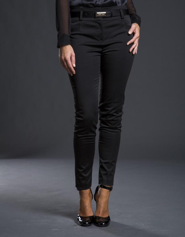 Pantalon extensible satin noir