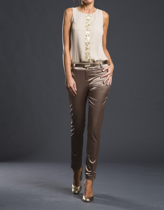 Pantalon extensible satin bronze