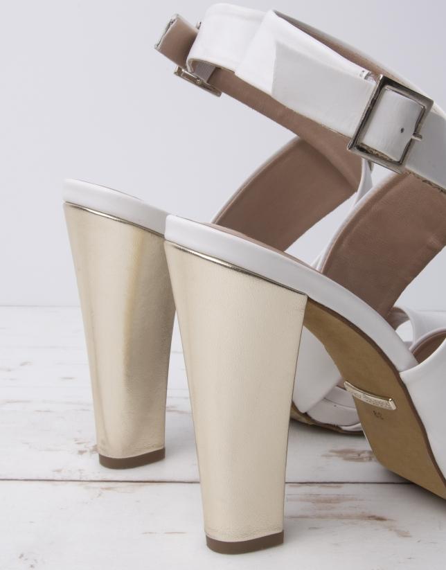 Sandalia tiras Rio piel blanca