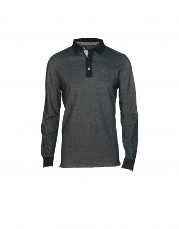 Two tone blue piqué polo shirt