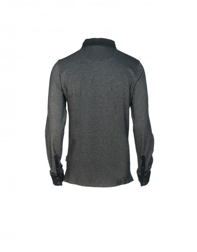 Two tone blue piqué polo shirt