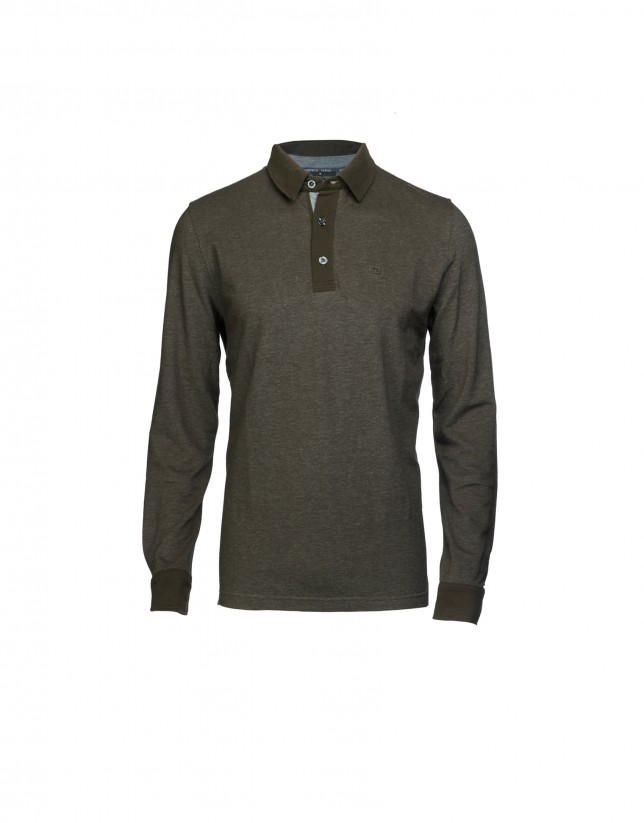 Two tone khaki piqué polo shirt
