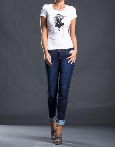 Pantalon jean bleu brodé fantaisie