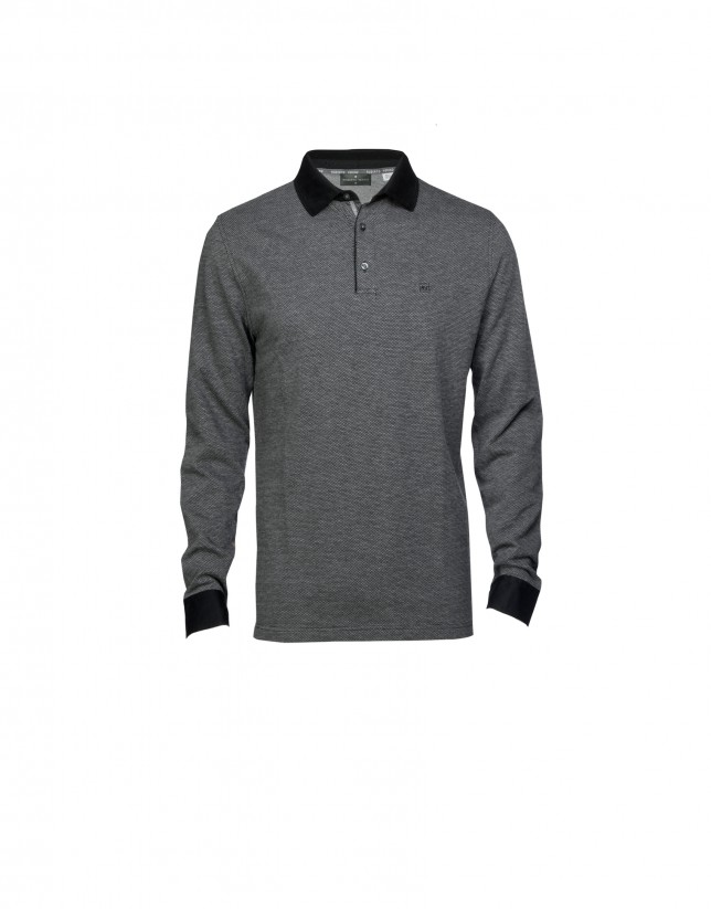 Mix grey and black polo shirt