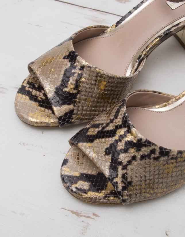 Sandale L.A. cuir imprimé python