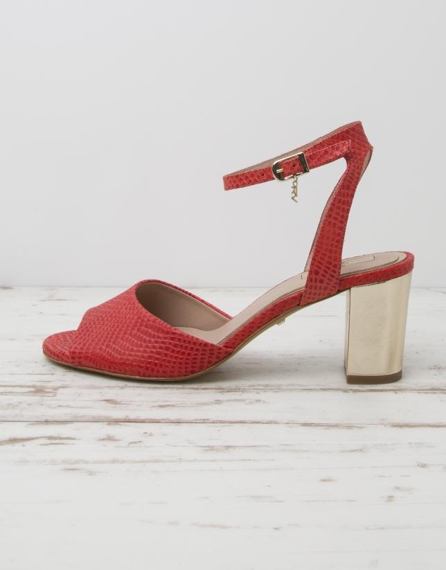 Sandale L.A. cuir rouge