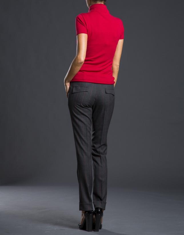 Pantalon Prince de Galles avec ourlet gris