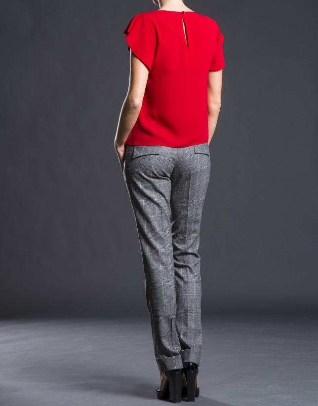Pantalón pinzas gales gris