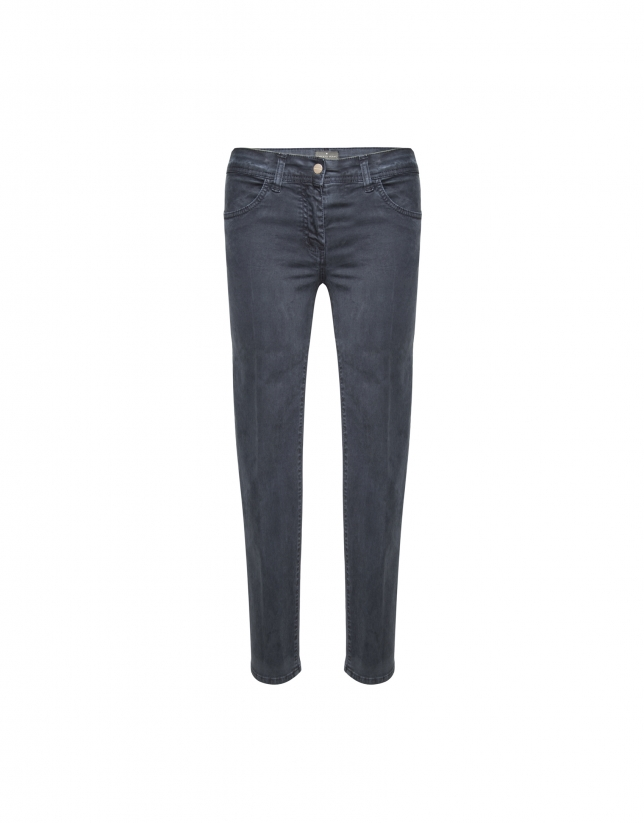 Beige washed cotton pants