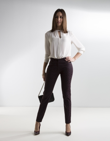 Aubergine jacquard pants