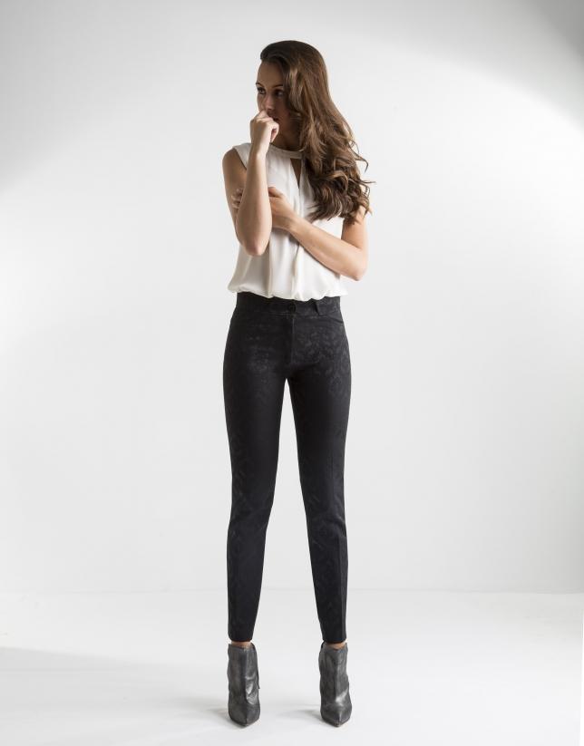 Pantalon à jacquard noir