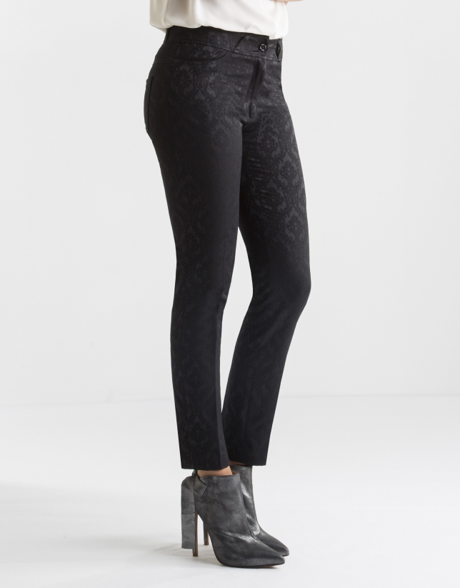 Black jacquard pants