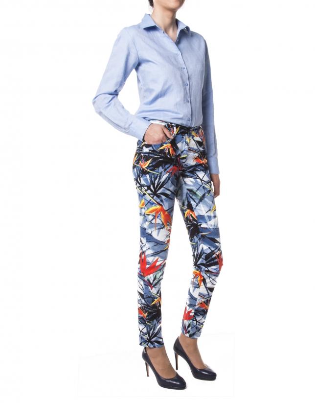 Pantalon imprimé floral bleu