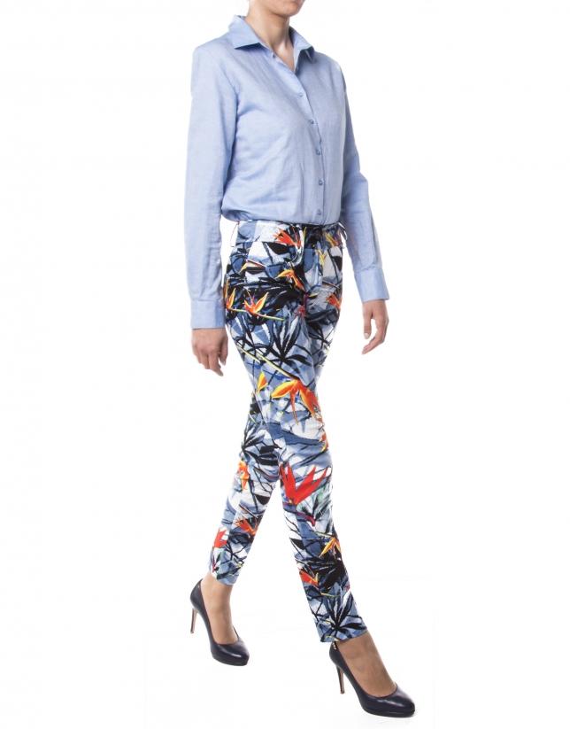 Pantalón estampado floral azul