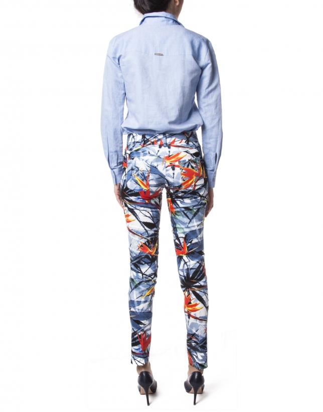 Blue floral print pants