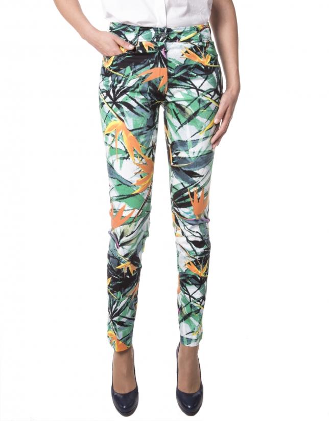 Pantalón estampado floral verde