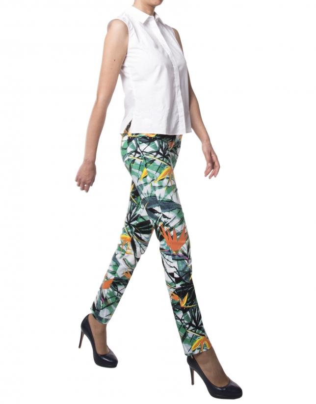 Pantalon imprimé floral vert