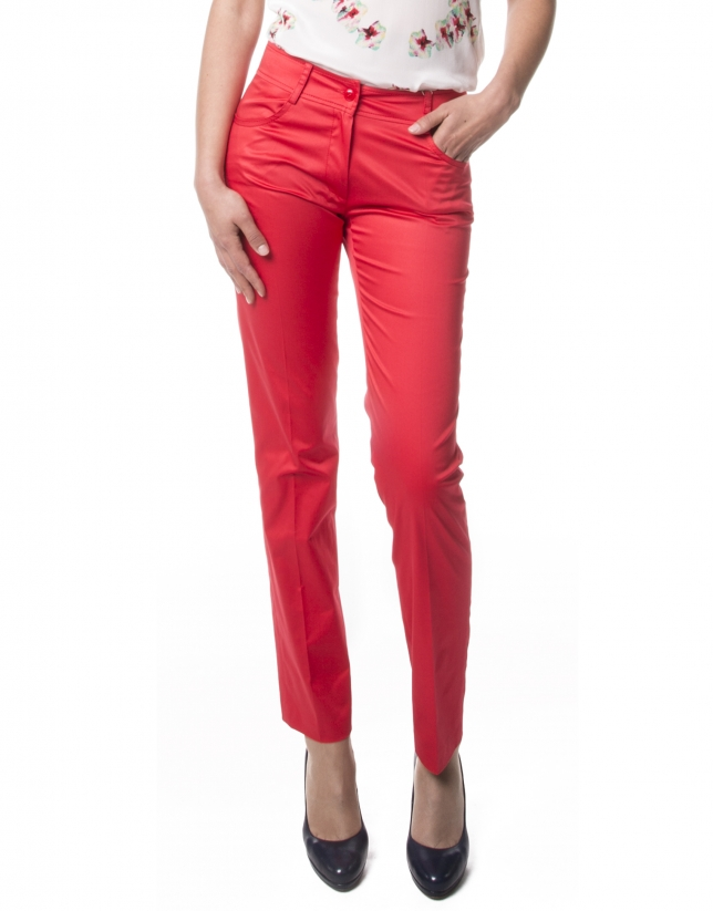 Red straight pants