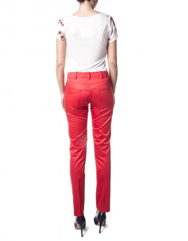 Pantalon droit rouge