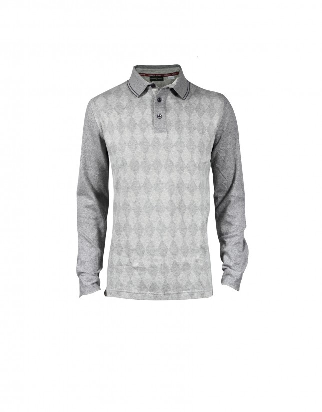 Mix grey diamond intarsia polo shirt