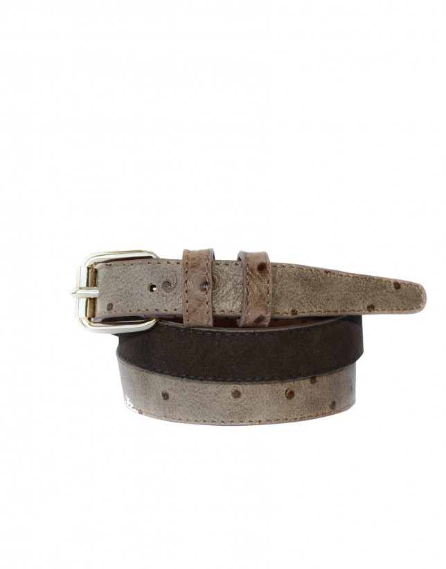 Cinturón estrecho combinado tostado