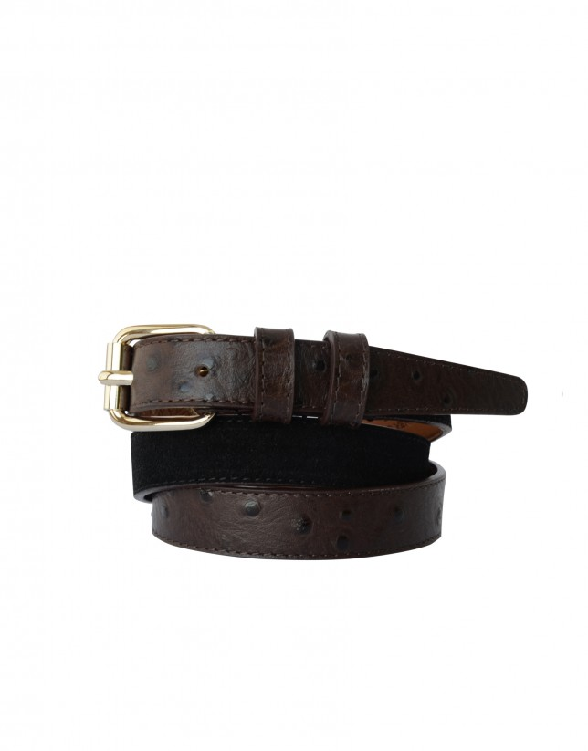 Narrow belt in black and brown tones