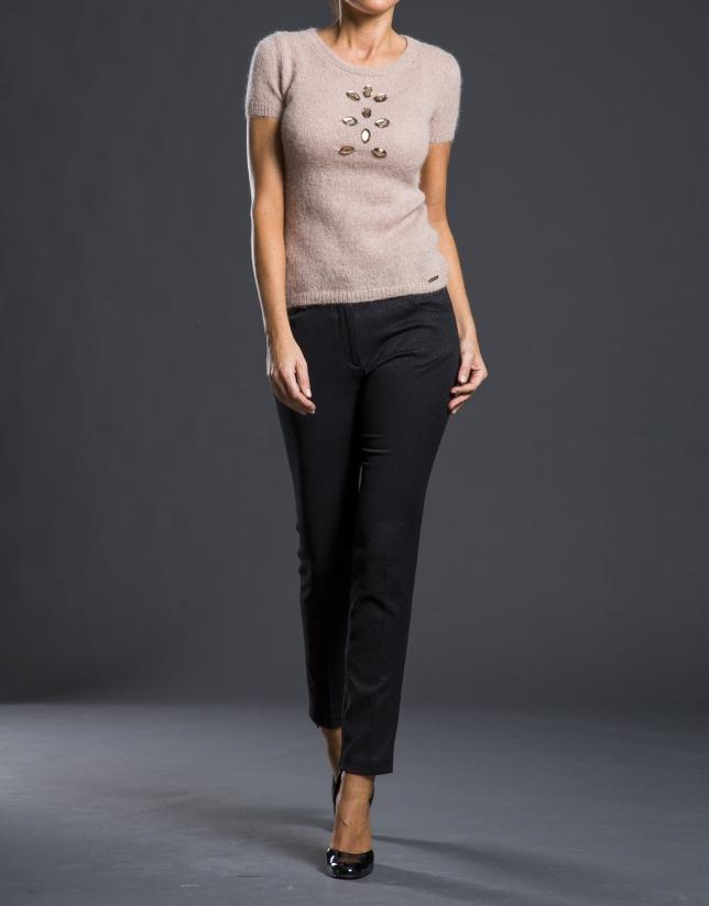 Pantalon Jacquard coupe droite noir