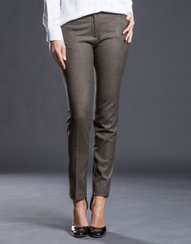 Brown jacquard cigarette pants.