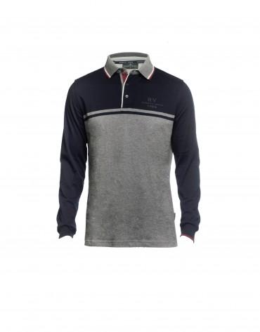 Polo jersey azul y gris
