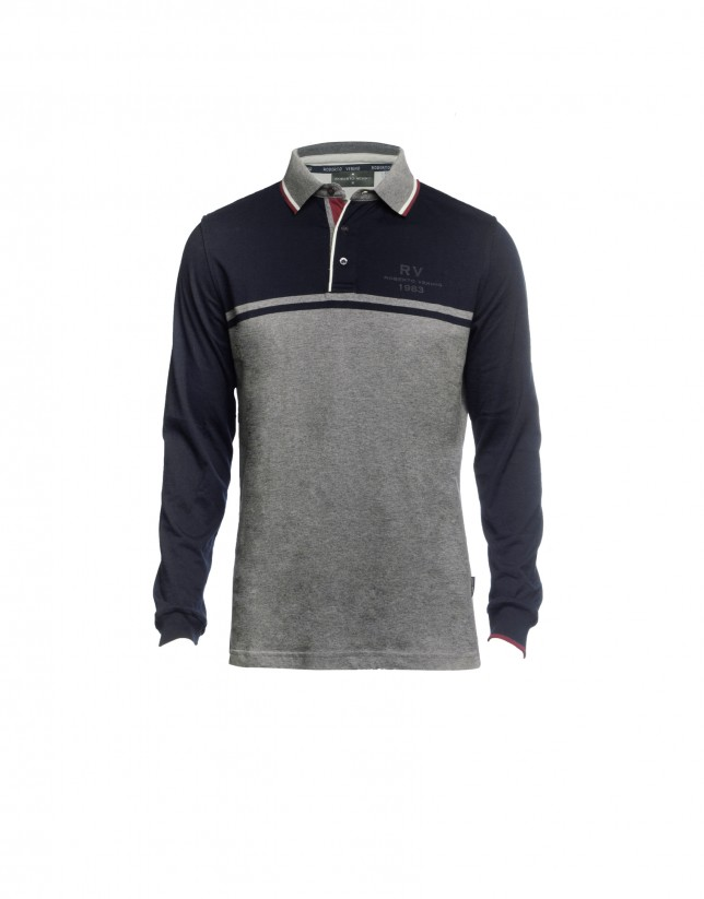 Blue and grey polo pullover