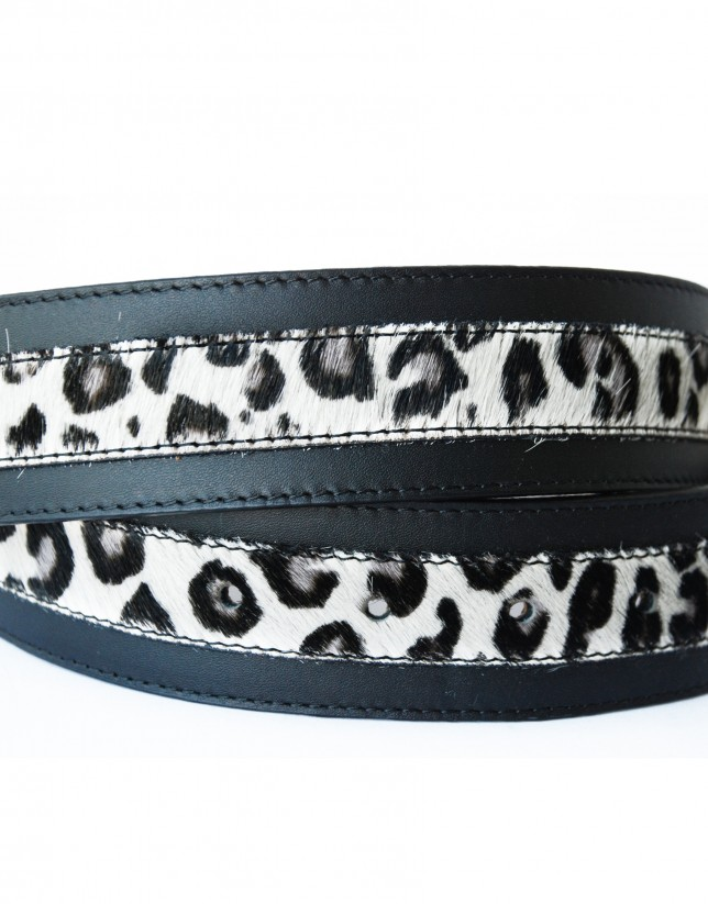 Combined animal print and leather belt