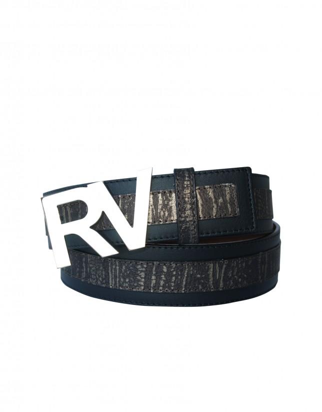 Cinturón jacquard dorado negro logo RV