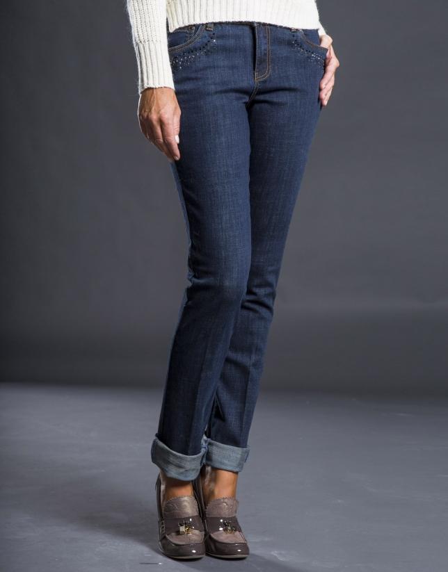 Pantalon jean pierreries et poches cloutées bleu