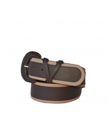 Wide taupe belt with contrasting trim